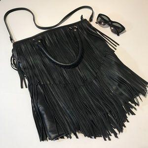 H&M Black Fringe Shoulder Bag Boho Faux Leather
